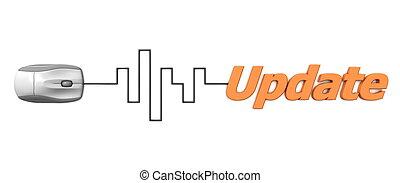 mot, câble, -, mise jour, gris, numérique, orange, souris