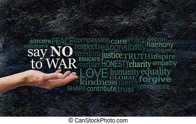 mot, campagne, non, dire, bannière, guerre, nuage