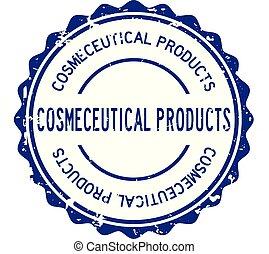mot, caoutchouc, bleu, cosmeceutical, rond, fond, cachet, blanc, grunge, timbre, produit