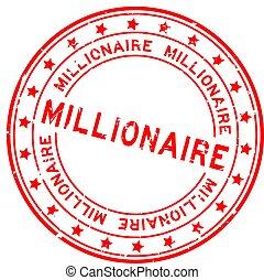 mot, caoutchouc, millionnaire, fond, cachet, blanc, grunge, rouges, timbre, squre
