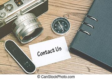 mot, card., plancher, bois, vendange, nous, contact, miniature, cahier, appareil photo, skateboard, fond, compas, blanc