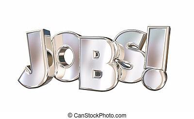 mot, carrière, travail, illustration, travaux, emploi, trouver, 3d