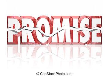 mot, cassé, promesse, toqué, rouges, 3d