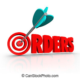 mot, cible, ventes, achat, marchandise, flèche, ordres, ...