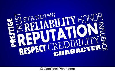 mot, collage, crédibilité, illustration, réputation, respect, confiance