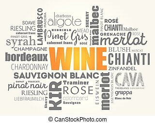 mot, collage, types, varietals, nuage, vin