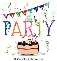 mot, coloré, anniversaire, confetti, chapeau partie