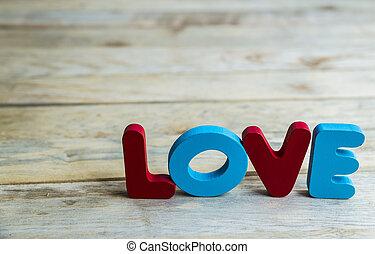 mot, coloré, plancher, bois, bois, amour