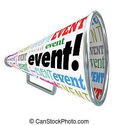 mot, commercialisation, bullhorn, publicité, gath, porte voix, événement, spécial