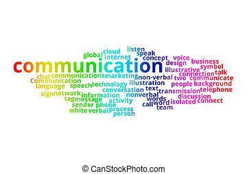 mot, communication affaires, concept., collage., technologie, nuage