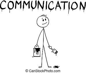 mot, communication, pinceau, homme affaires, peinture, dessin animé, boîte