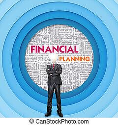 mot, concept affaires, planification, financier, nuage