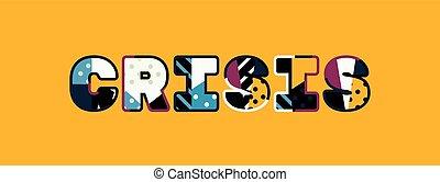 mot, concept, art, crise, illustration
