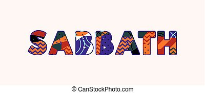 mot, concept, art, sabbat, illustration
