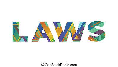 mot, concept, retro, coloré, illustration, lois, art
