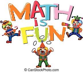 mot, conception, amusement, clowns, police, math