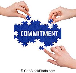 mot, confection, puzzle, isolé, blanc, engagement, mains
