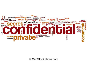 mot, confidentiel, nuage