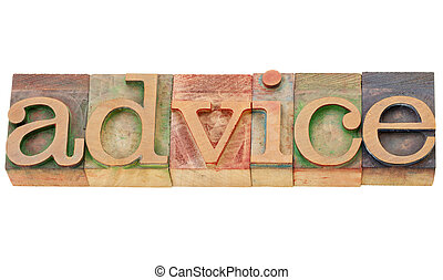 mot, conseil, type, letterpress