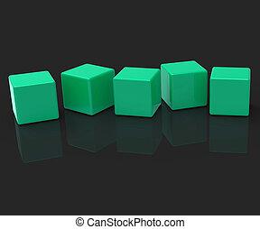 mot, copyspace, exposition, cinq, lettre, vide, blocs, 5