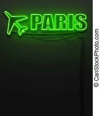 mot, copyspace, néon, paris, signe, incandescent