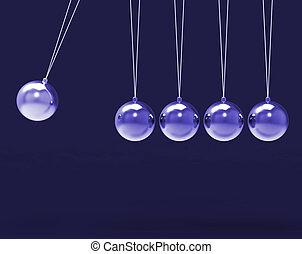 mot, copyspace, projection, sphères, berceau, cinq, lettre, vide, newtons, 5, argent