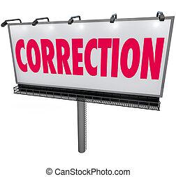 mot, correction, erreur, panneau affichage, réviser, mise...