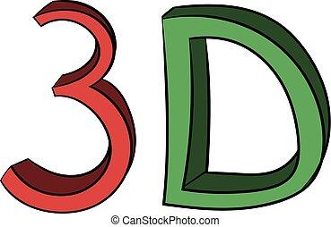 mot, couleur, écrit, 3d, dessin animé, icône