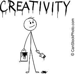 mot, créativité, pinceau, homme affaires, peinture, dessin animé, boîte
