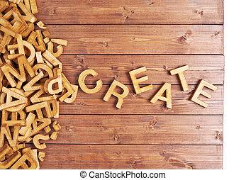 mot, créer, fait, à, bois, lettres