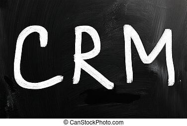 """mot, """"crm"""", craie, tableau noir, blanc, manuscrit"""