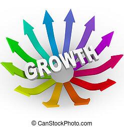 mot, croissance, flèches, coloré