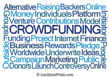 mot, crowdfunding, nuage