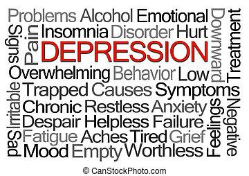 mot, dépression, nuage