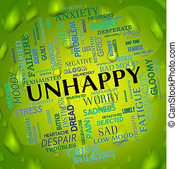 mot, déprimé, malheureux, chagrin frappé, spectacles