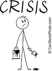 mot, dessin animé, pinceau, homme affaires, peinture, crise, boîte