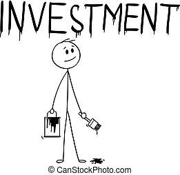 mot, dessin animé, pinceau, homme affaires, peinture, investissement, boîte
