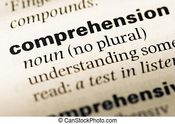 mot, dictionnaire, haut, compréhension, anglaise, fin, vieux...