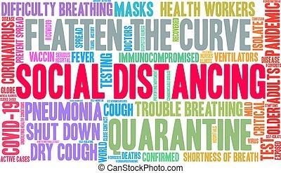 mot, distancing, social, nuage