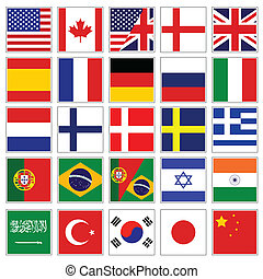 mot, drapeau, boutons