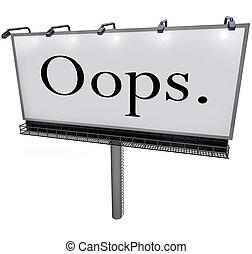 mot, embarras, oops, panneau affichage, public, erreur