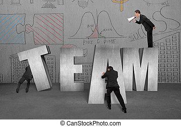 mot, employés, mouvement, ensemble, commander, équipe, homme affaires