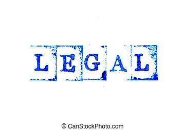 mot, encre, blanc, papier, arrière-plan bleu, légal, timbre, caoutchouc