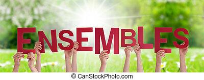 mot, ensemble, herbe, tenue, plus fort, pré, mains, ensembles, moyens, gens