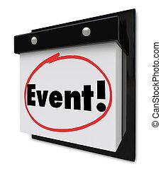 mot, entouré, fête, calendrier, événement, spécial, rappel