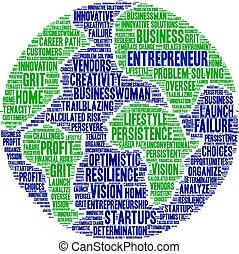 mot, entrepreneur, nuage