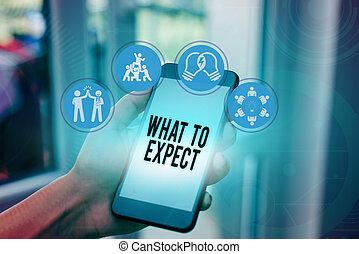 mot, expect., volonté, quel, texte, écriture, sur, concept affaires, confusion, happen, future., croyance