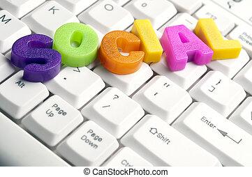 mot, fait, lettres, coloré, social