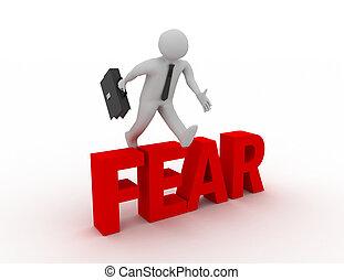 mot, 'fear', sur, sauter, fond, homme affaires, blanc, 3d