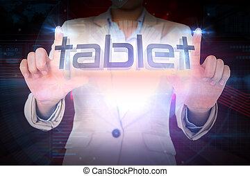 mot, femme affaires, présentation, tablette